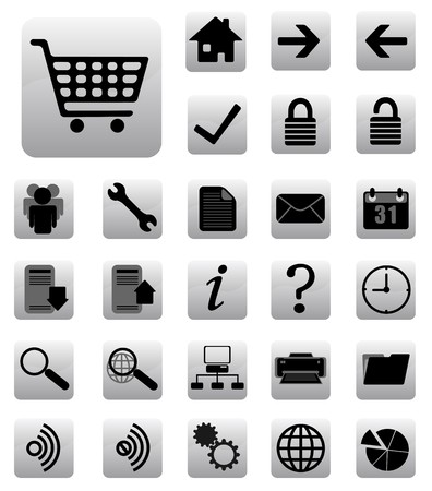 shopping questions: internet  and website icons set black and gray Illustration