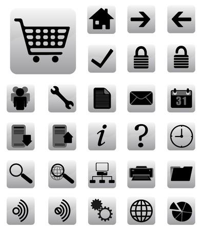 logo informatique: les ic�nes Internet et site Web d�finir noir et gris