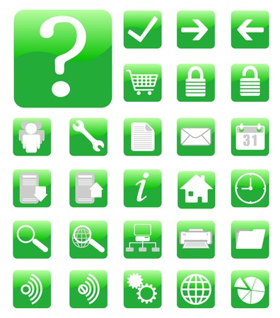 website and internet icons set green Vector