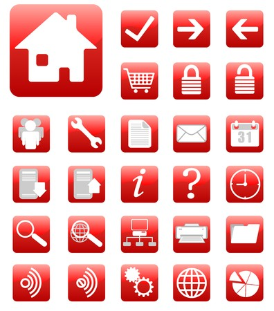 website icons set red Vector