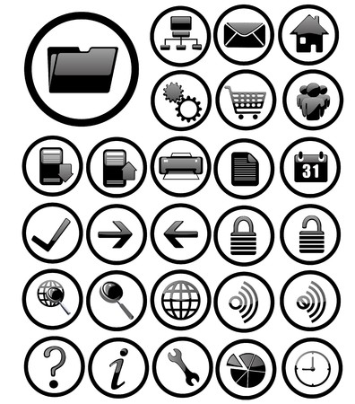 internet icons set black Vector