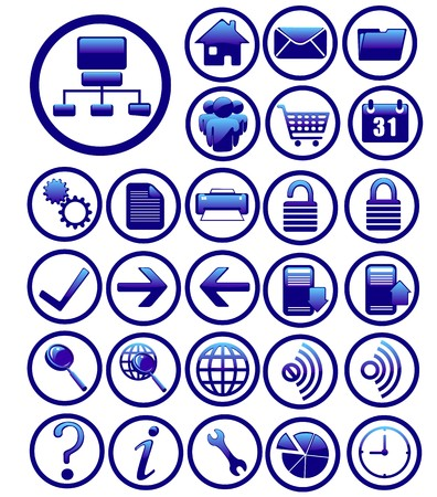 internet icons set blue