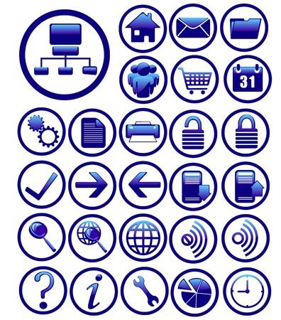 text tool: internet icons set blue