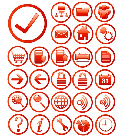 internet icons set red Vector