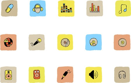 Music and Dance icons  Fresh color Vector