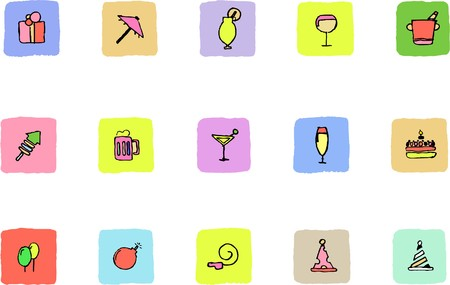 rectangluar: Party and Celebration icons  Fresh color