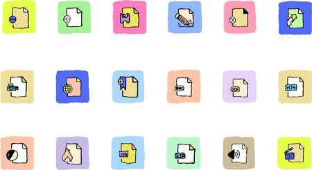 circularity: Document and File formats icons  Fresh color Illustration