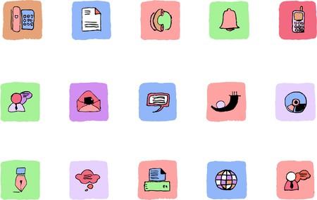 rectangluar: Communication icons  Fresh color Illustration