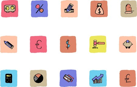 Finance and Banking icons  Fresh color Vector