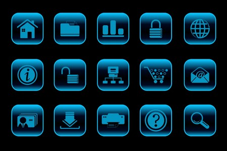 website and internet icons  blue Series