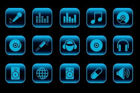 Music and Dance icons blue Series Vector