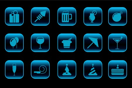 Party and Celebration icons blue Series Vector