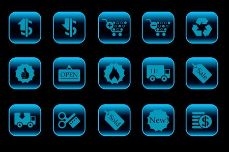 open flame: Sale and Shopping icons blue Series