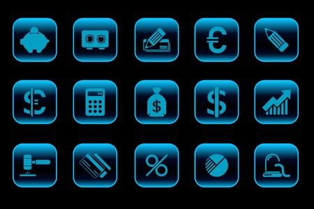 newsfeed: Finance and Banking icons blue Series Illustration
