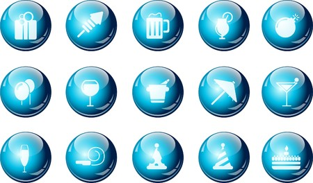 Party and Celebration icons cyan crystal Series Vector
