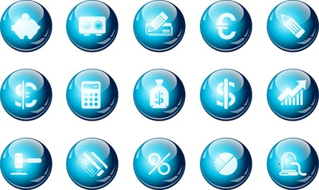 Finance and Banking icons cyan crystal Series Stock Vector - 7582370