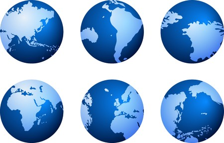 south east asia: blue globe icons