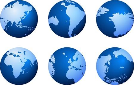 south east asia: Icone blu globo  Vettoriali