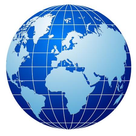 icono de globo azul aislado en blanco