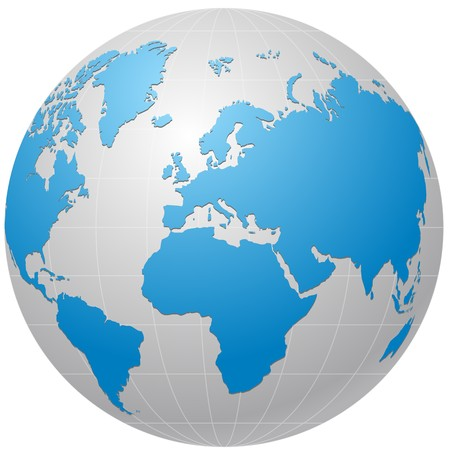 east europe:  globe icon isolated on white