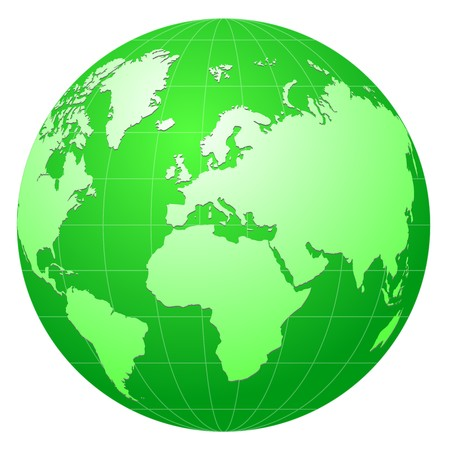 green globe icon isolated on white