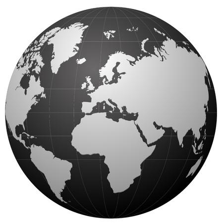 oriente: icono de globo negro aislado en blanco