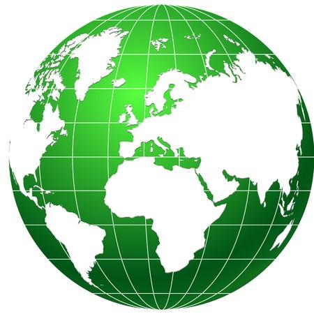 continente: icono de globo verde aislado en blanco