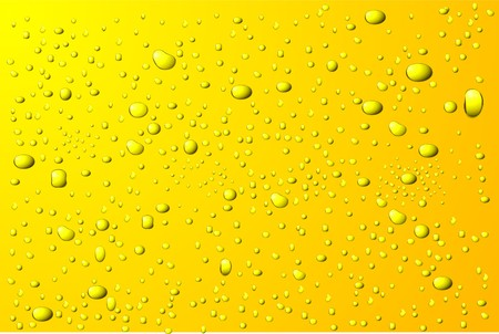 reflejo en el agua: Fondo de gotas de agua amarilla  Vectores