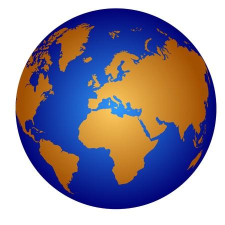 Atlas:   Globus-Symbol, isoliert auf weiss