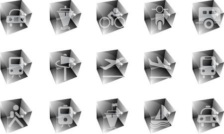 rectangluar: Transportation and Vehicle icons ice Illustration