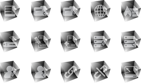 rectangluar: Database and Network icons ice