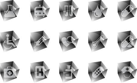 rectangluar: Healthcare and Pharma icons ice
