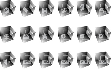 Document and File formats icons ice Vector