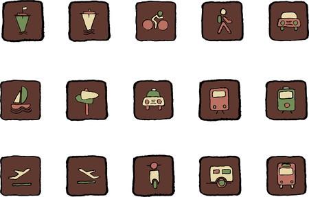 rectangluar: Transportation and Vehicle icons Renaissance colors Illustration
