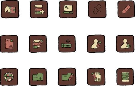 rectangluar: Database and Network icons Renaissance colors