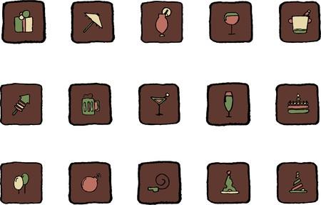rectangluar: Party and Celebration icons Renaissance colors Illustration