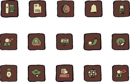 rectangluar: Communication icons  Renaissance colors Illustration