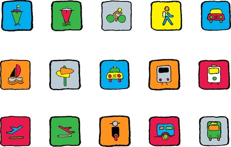 rectangluar: Transportation and Vehicle icons Bright colors Illustration