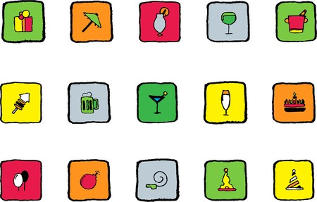 Party and Celebration icons Bright colors Vector
