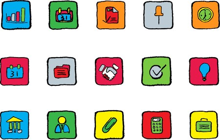 Business icons Photo Bright colors Vector