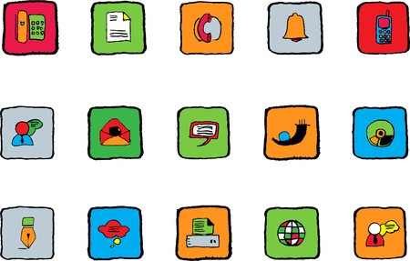 rectangluar: Communication icons  Bright colors Illustration