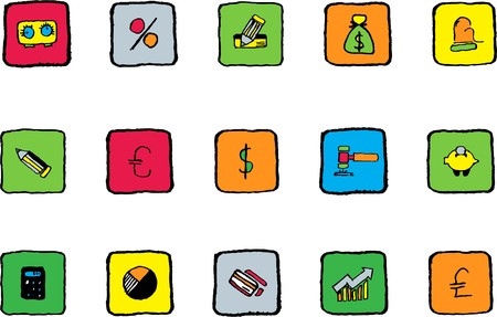 newsfeed: Finance and Banking icons Bright colors Illustration