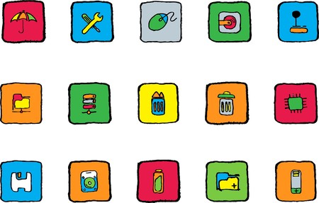Computer and Data icons Bright colors Vector