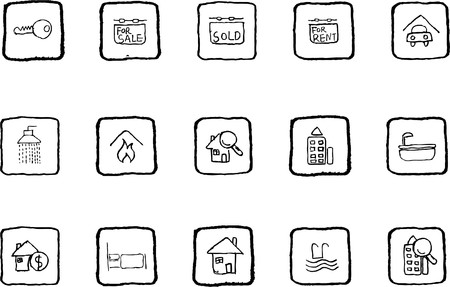 Real Estate icons grunge line Stock Vector - 7612136