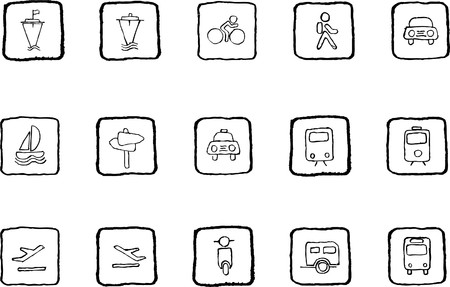 Transportation and Vehicle icons grunge line Vector