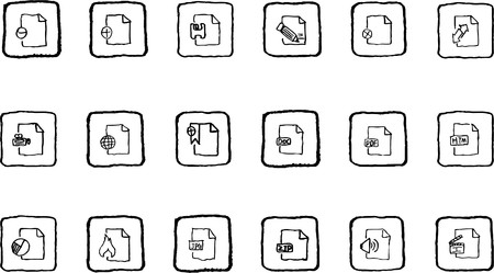 formats: Document and File formats icons grunge line