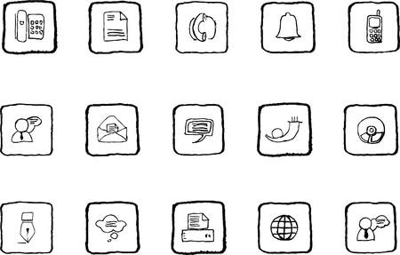 rectangluar: Communication icons grunge line Illustration