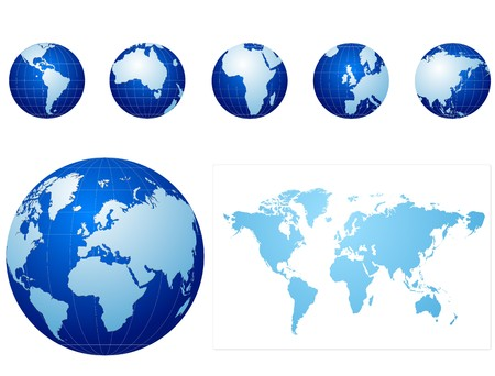 asia globe: blue globe icons set