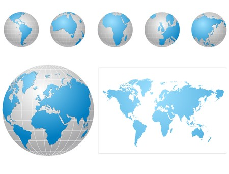 asia globe: blue and gray  globe icons set Illustration