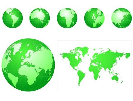 wereldbol groen: groene wereld pictogrammen set  Stock Illustratie
